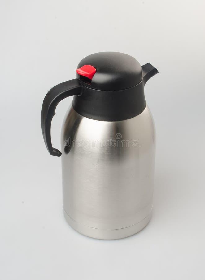 Flacon thermo ou thermo de stee inoxydable sur le fond image stock