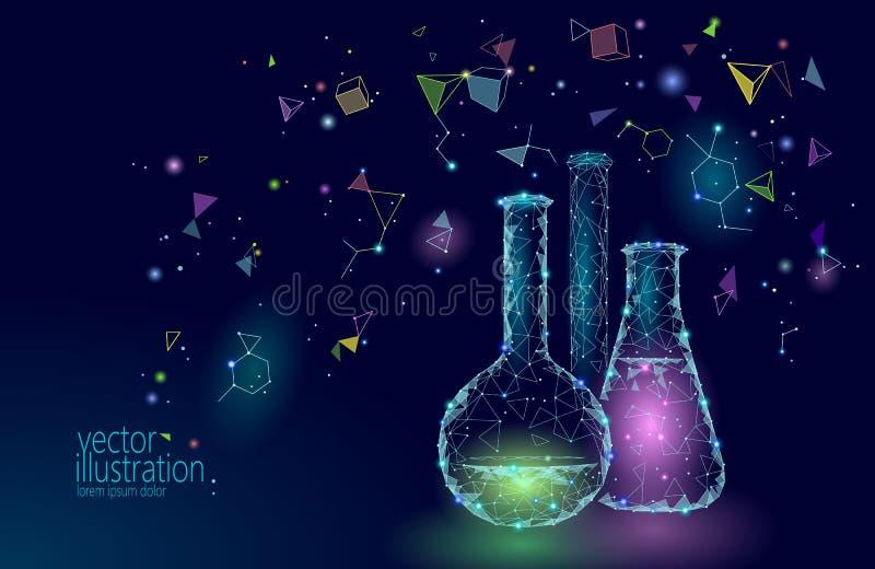 Flacons en verre chimiques de la basse poly science Technologie rougeoyante bleue d'avenir de recherches de triangle polygonale m illustration stock