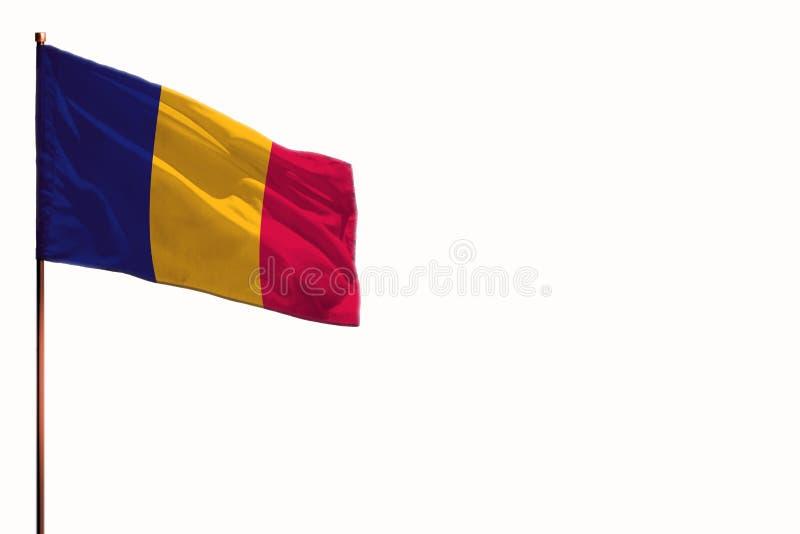 Fladderend Tsjaad isoleerde vlag op witte achtergrond, model met de ruimte voor uw inhoud stock foto