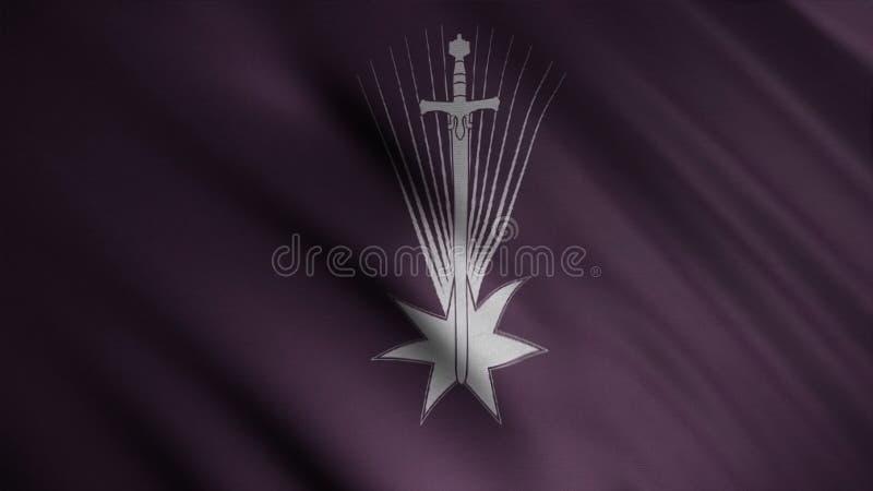 Fladderende vlag met witte dalende ster en een zwaard op donkere purpere achtergrond, naadloze lijn Het embleem van het Daynehuis stock foto's