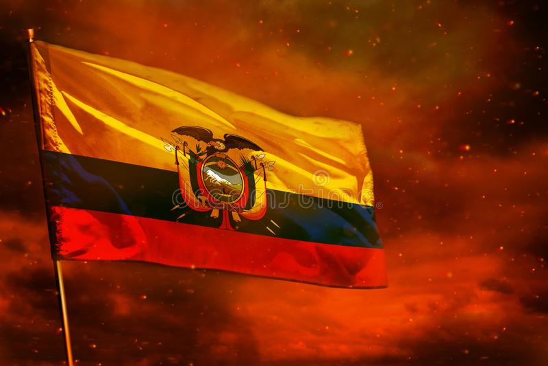 Fladdra den Ecuador flaggan på karmosinröd röd himmel med rökpelarbakgrund Besv?rar begrepp royaltyfri illustrationer