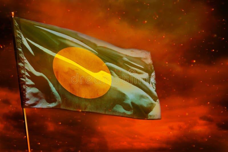 Fladdra den palauiska flaggan på karmosinröd röd himmel med rökpelarbakgrund Besv?rar begrepp vektor illustrationer