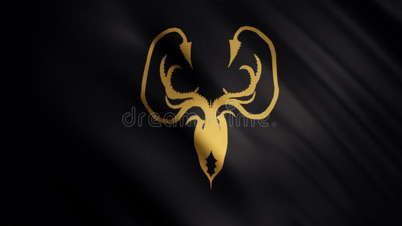 Fladdra flaggan med ett guld- kraken på svart bakgrund, sömlös ögla Greyjoy husemblem, lek av biskopsstolbegreppet fotografering för bildbyråer