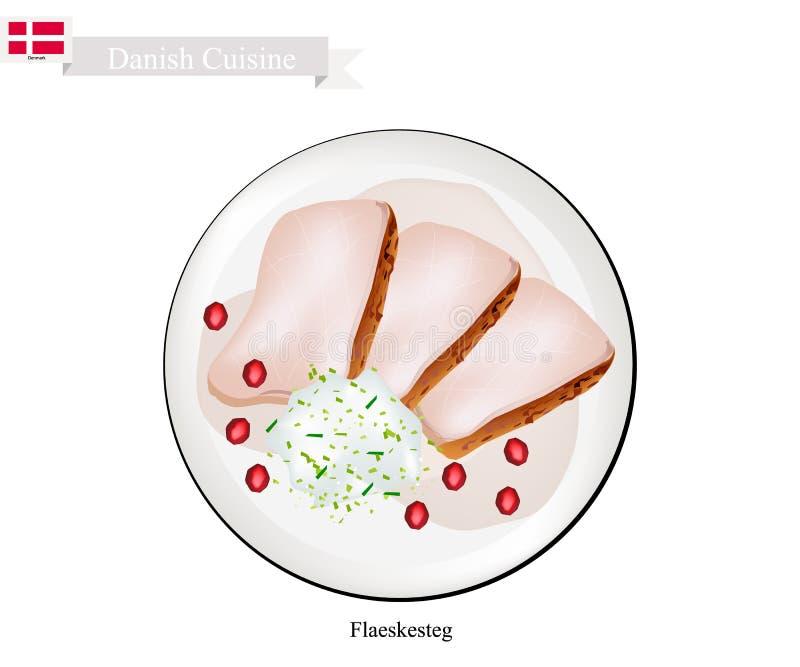 Flaeskesteg ou porc rôti, le plat national danois illustration libre de droits