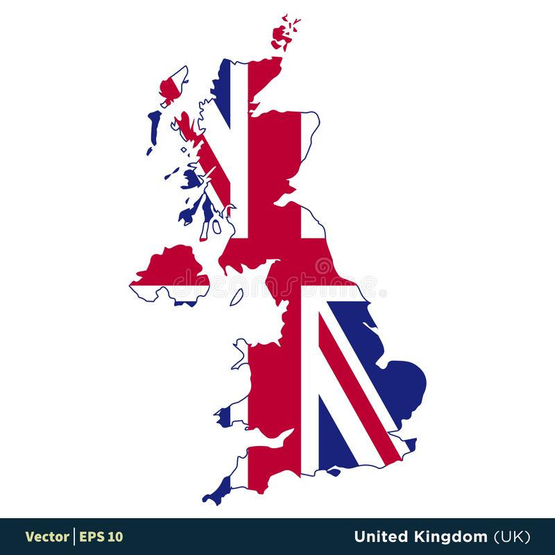 United Kingdom UK - Europe Countries Map and Flag Vector Icon Template Illustration Design. Vector EPS 10. United Kingdom UK - Europe Countries Map and Flag vector illustration