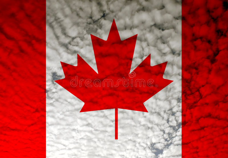 Flag. Canada flag among white clouds, computer generated vector illustration