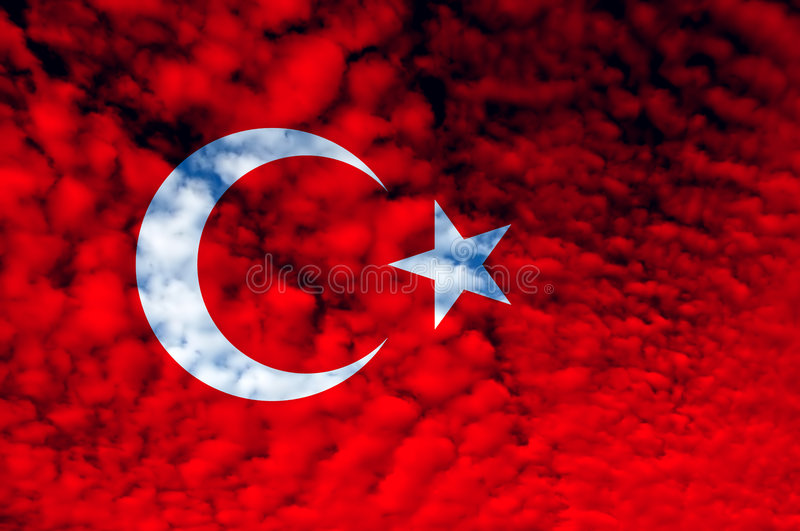 Flag. Turkey red and white flag illustration, computer generated stock illustration