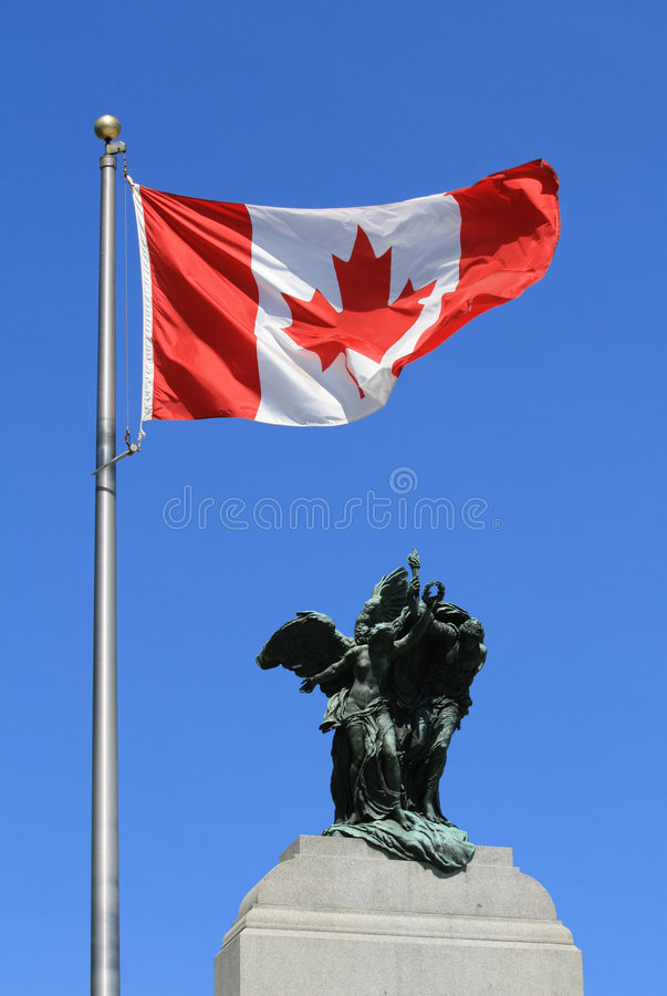 Flag above War Memorial stock photography