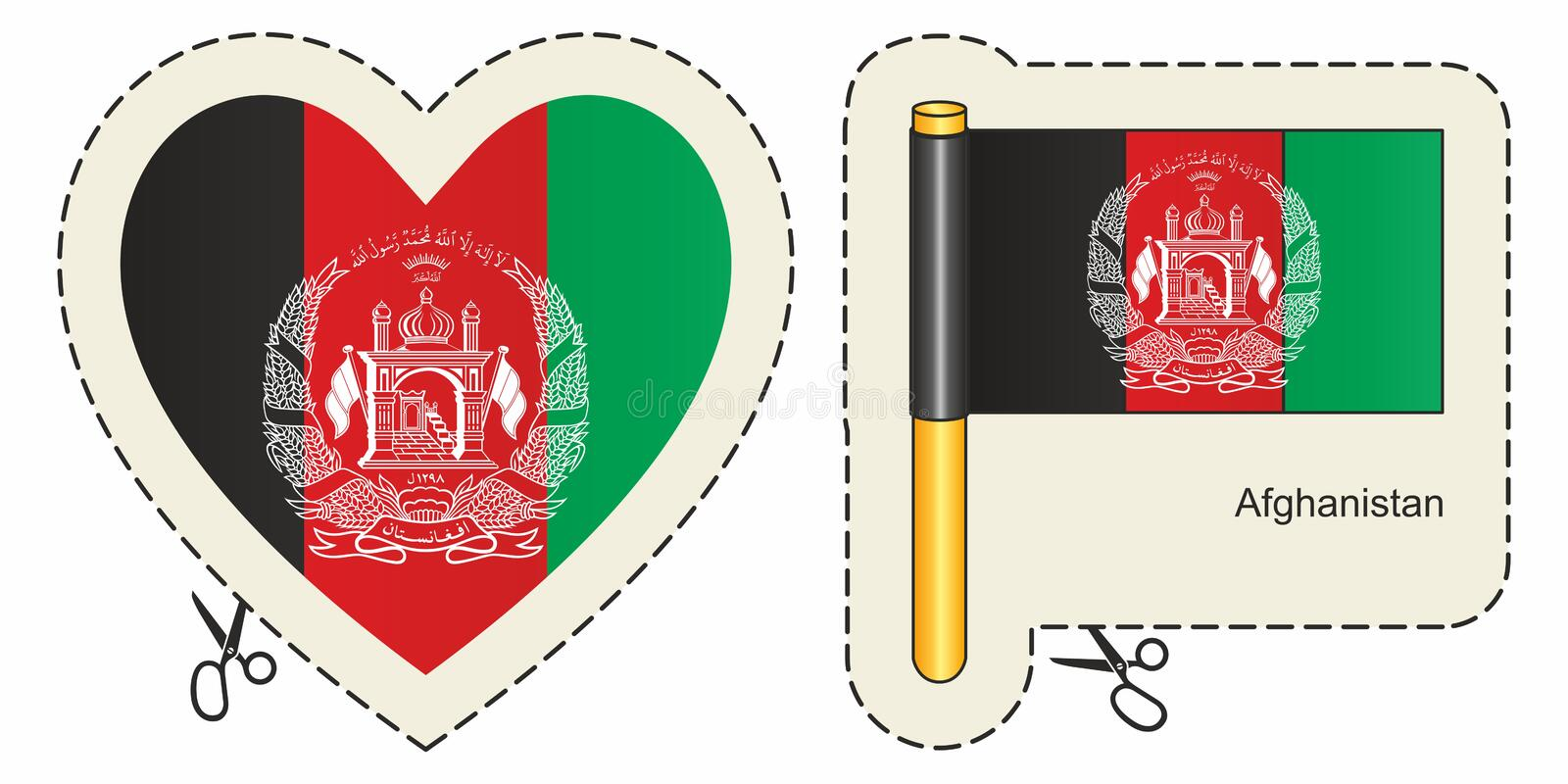 Flag of Afghanistan. Vector cut sign here, isolated on white. Can be used for design, stickers, souvenirs. vector illustration