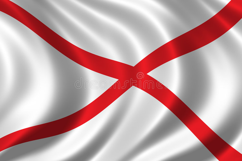 Flag of Alabama. Waving in the wind royalty free illustration