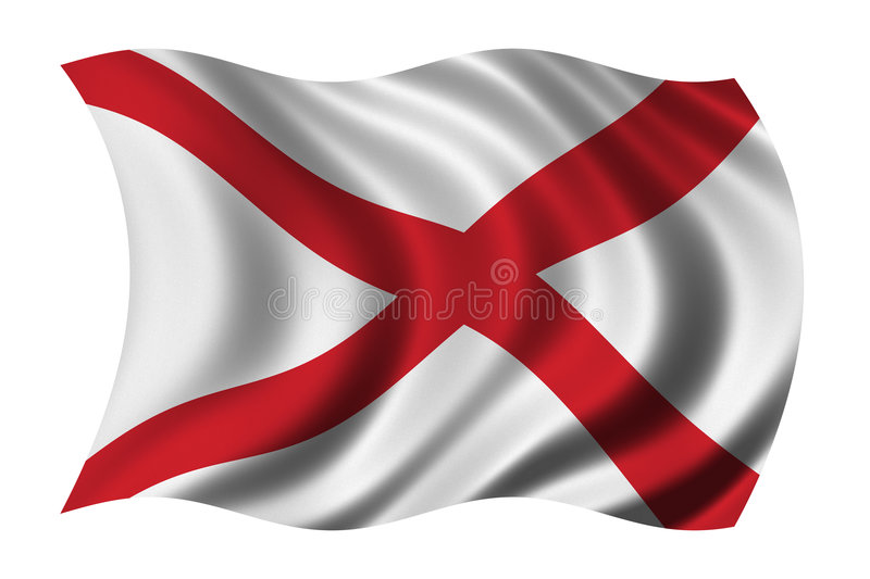 Flag of Alabama. Waving in the wind vector illustration