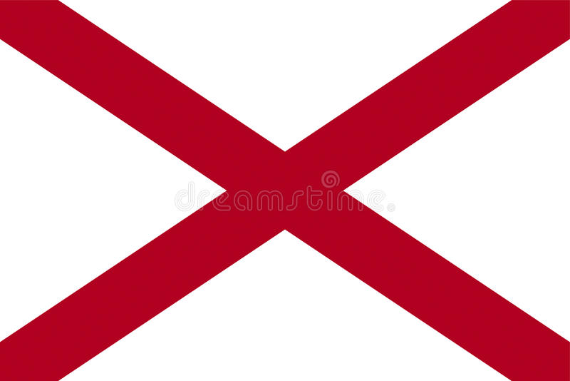 Flag of Alabama. Illustration of the flag of Alabama state in America royalty free illustration