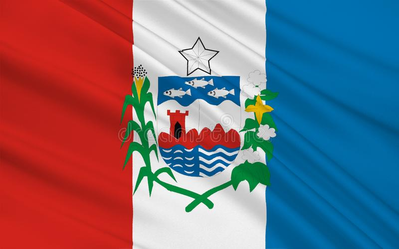 Flag of Alagoas, Brazil. Flag of Alagoas is one of the 27 states of Brazil. 3d illustration stock illustration