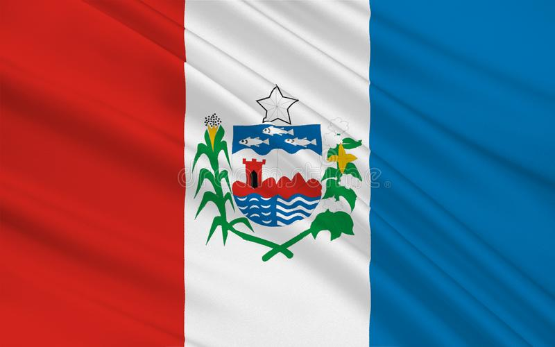 Flag of Alagoas, Brazil. Flag of Alagoas is one of the 27 states of Brazil. 3d illustration royalty free illustration