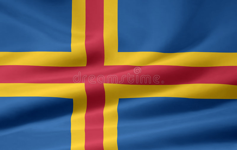 Flag of Aland stock photos