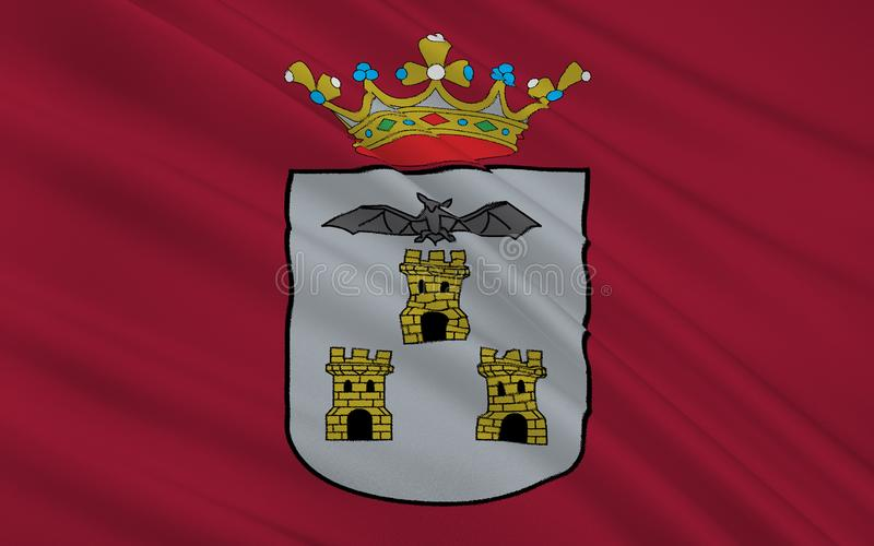 Flag of Albacete is a city and municipality Spanish of the autonomous community of Castile-La Mancha. Capital of the homonymous province stock photo