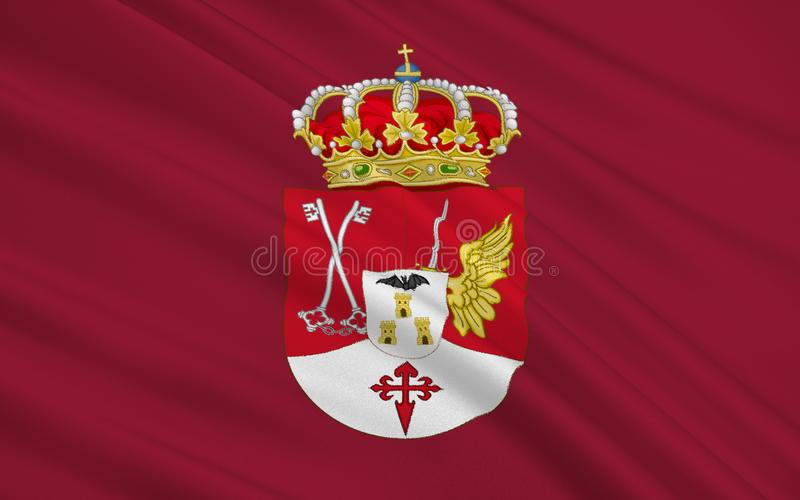 Flag of Albacete is a province of central Spain. In the southern part of the autonomous community of Castile–La Mancha royalty free stock image