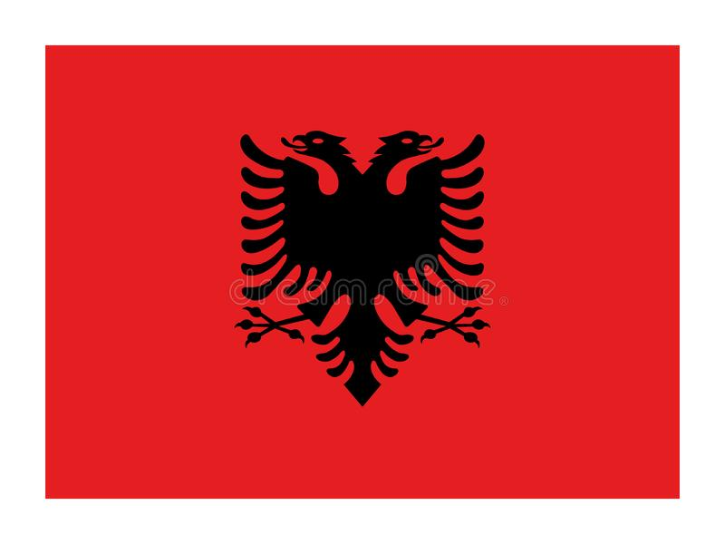 Flag of Albania, Albanian  flag standard proportion, National official flag vector illustration