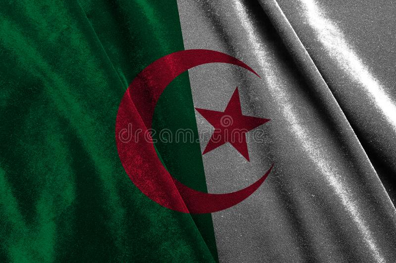 Flag of algeria. Algeria flag on silver fabric. State flag stock photo