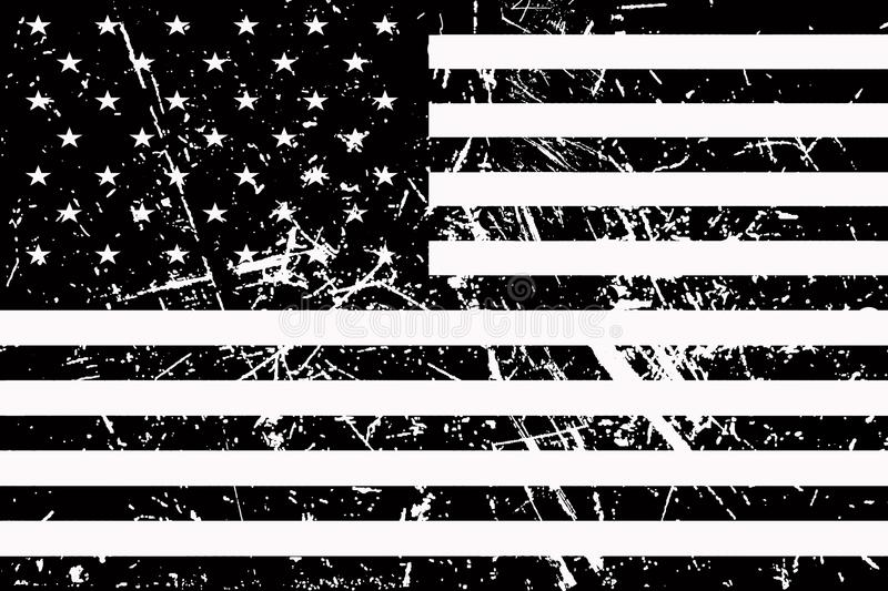 Flag of America is black and white and shabby vector illustration