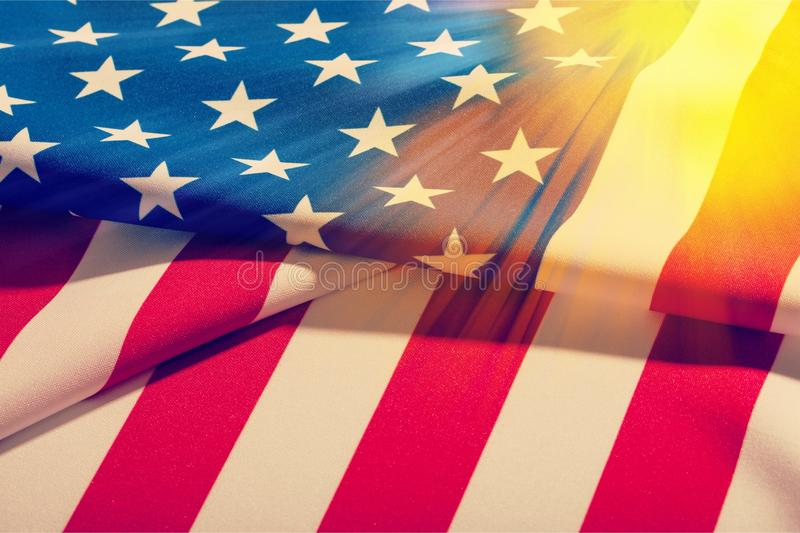 Unated States of America flag on sky background stock photos