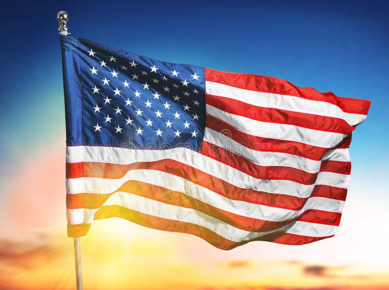 Unated States of America flag on sky background stock images