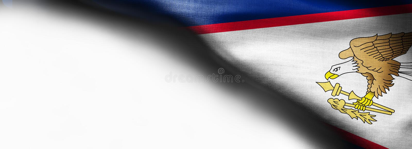 A Flag of American Samoa - flag on white background - right top corner - free copy space. Fabric texture royalty free stock photo