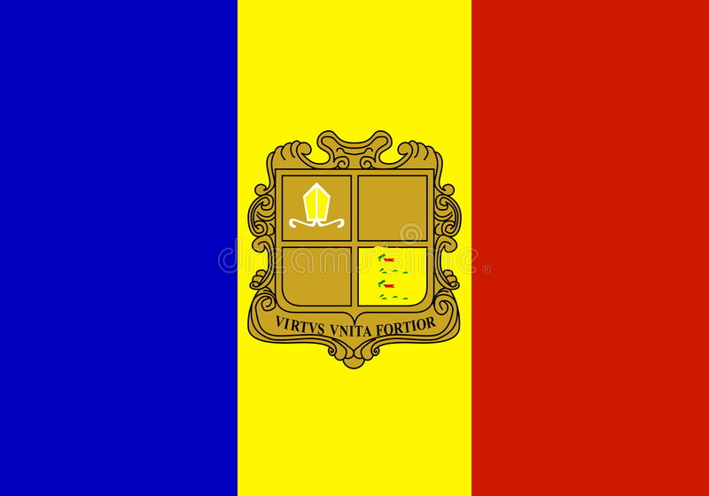 Flag of Andorra. National country symbol illustration Vector illustration available for download. Click here for more vectors vector illustration