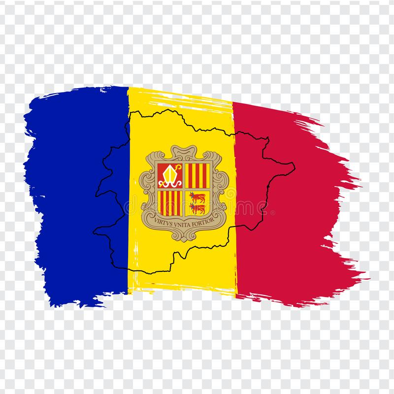 Flag of Andorra from brush strokes and Blank map Andorra. High quality map Principality of Andorra and flag on transparent backgro stock illustration