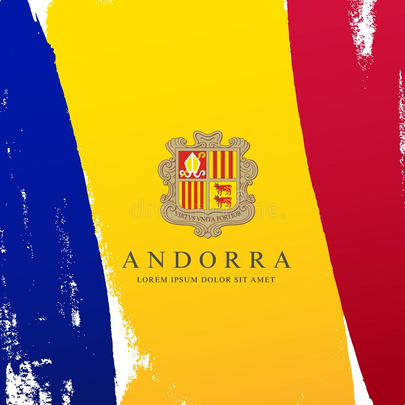 Flag of Andorra. Brush strokes are drawn by hand. Independence Day. Flag of Andorra. Vector illustration on a white background. Brush strokes are drawn by hand royalty free illustration