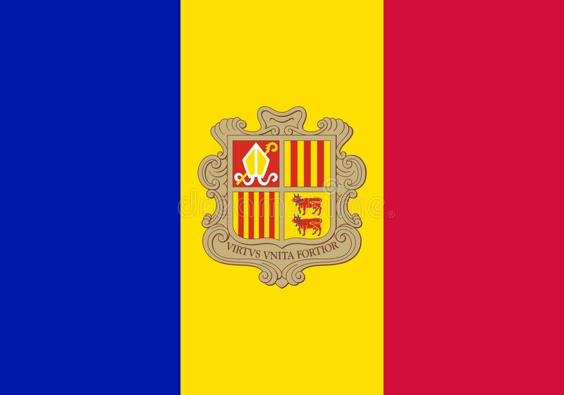 Flag of Andorra official colors and proportions, vector image. Flag of Andorra official colors and proportions, vector image royalty free illustration