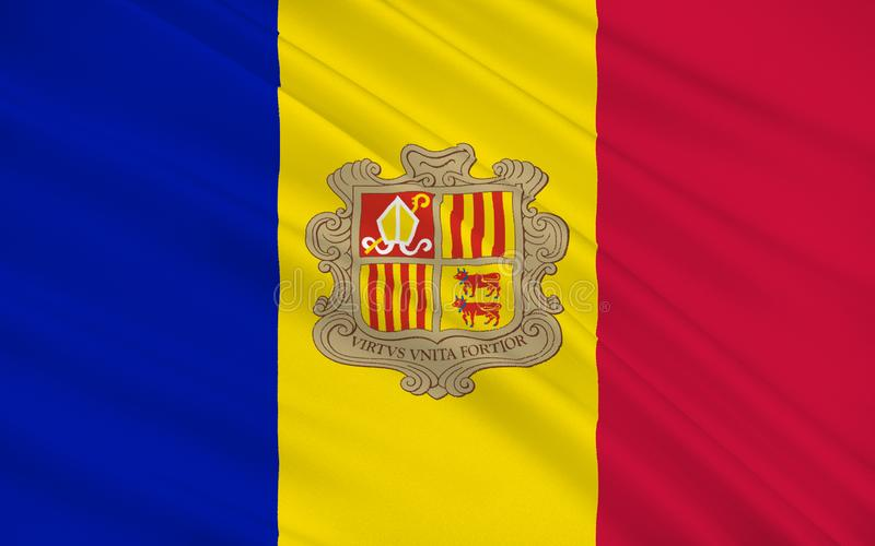 Flag of Andorra. Is a sovereign landlocked microstate in Southwestern Europe, located in the eastern Pyrenees mountains and bordered by Spain and France royalty free stock images