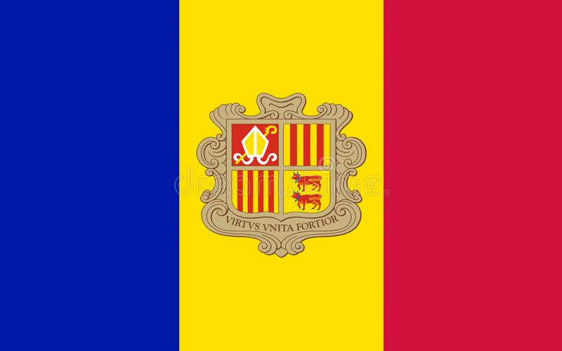 Flag of Andorra. Is a sovereign landlocked microstate in Southwestern Europe, located in the eastern Pyrenees mountains and bordered by Spain and France stock photos