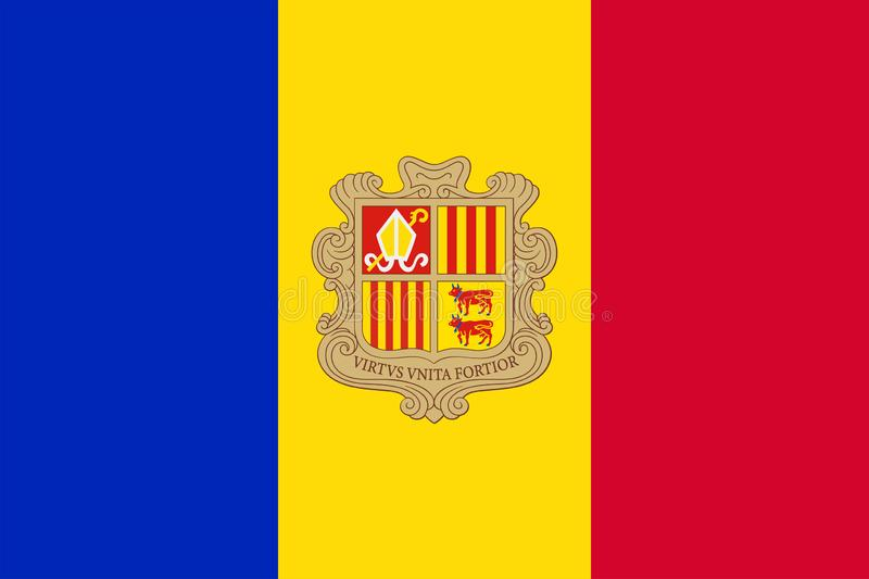 Flag of Andorra. Sovereign state flag of Andorra. Vector illustration royalty free illustration