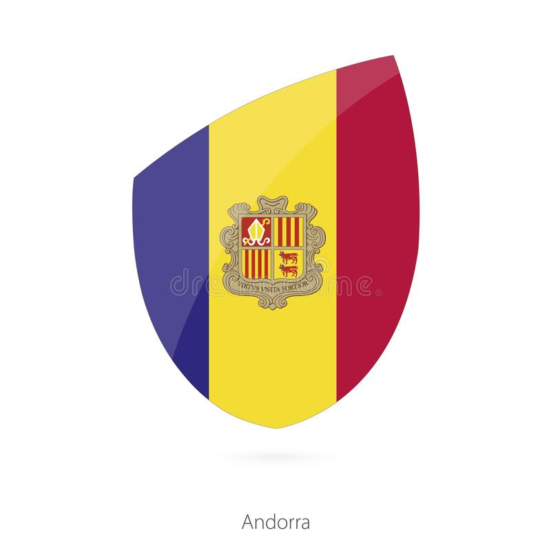 Flag of Andorra in the style of Rugby icon. Vector Illustration royalty free illustration