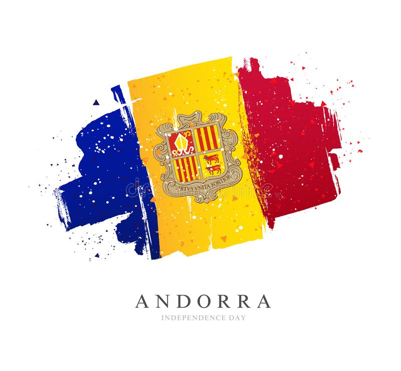 Flag of Andorra. Vector illustration on a white background. Brush strokes are drawn by hand. Independence Day stock illustration