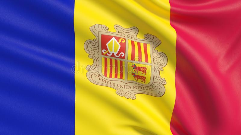 Flag of Andorra. Waved highly detailed fabric texture. Background with flag of Andorra stock illustration