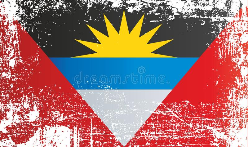 Flag of Antigua and Barbuda, Wrinkled dirty spots. royalty free illustration