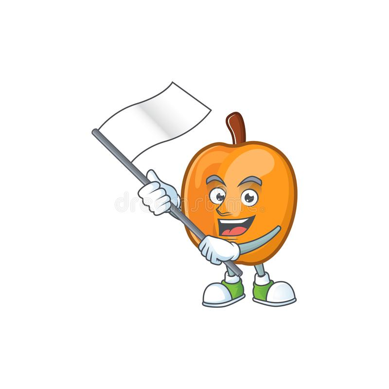 With flag apricot fruit in the cartoon shape. Vector illustration royalty free illustration
