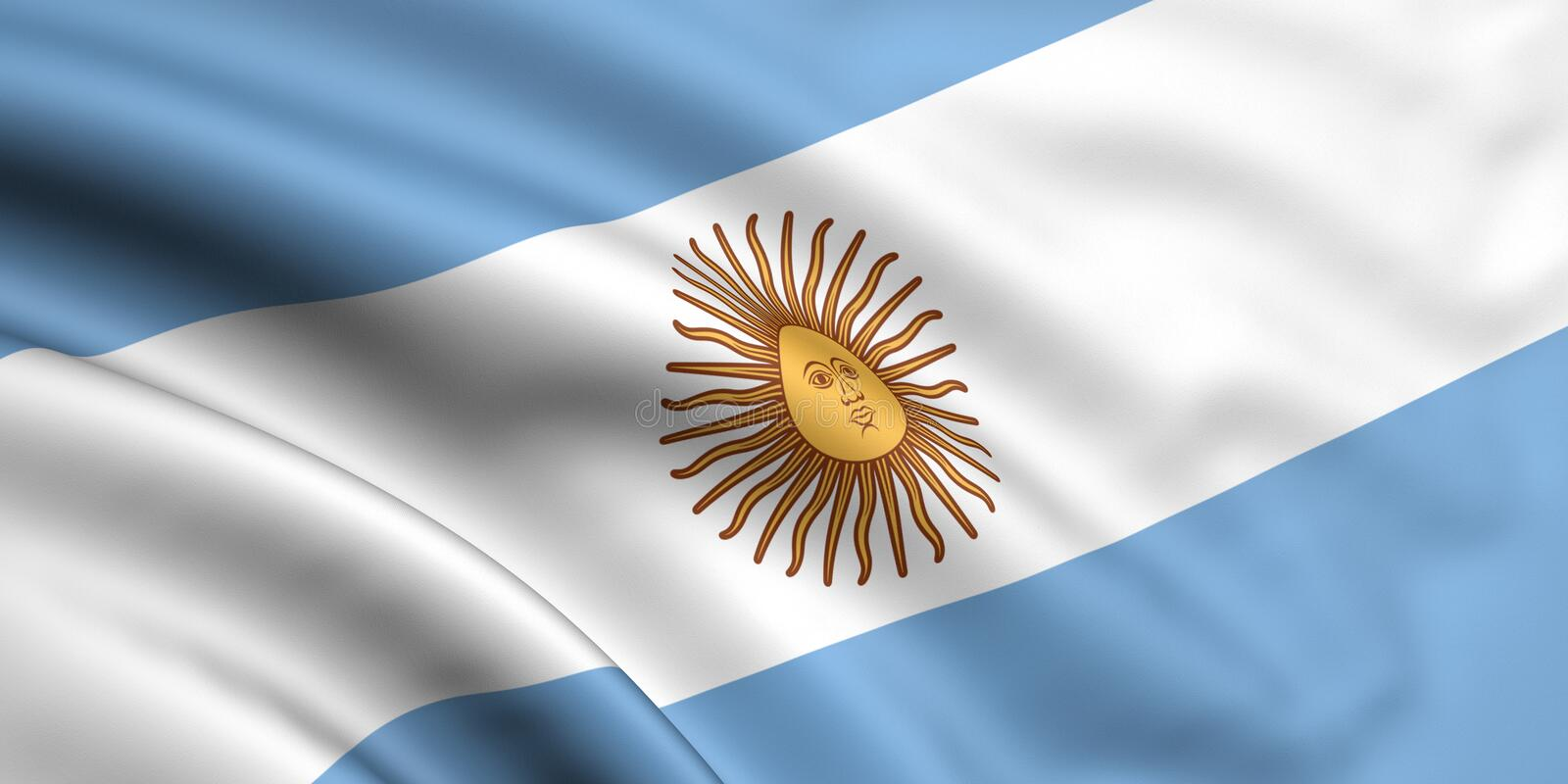 Flag Of Argentina. 3d rendered and waving flag of argentina