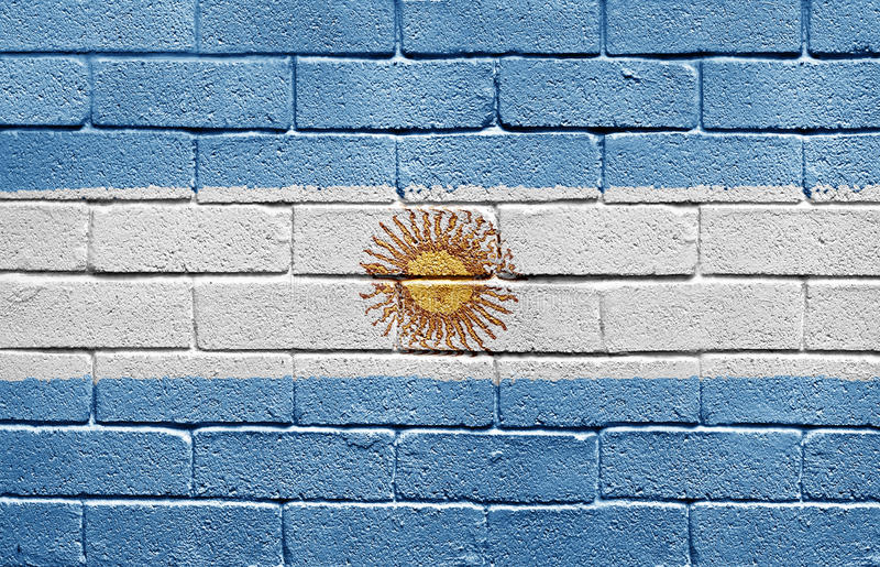 Flag Of Argentina On Brick Wall Stock Image