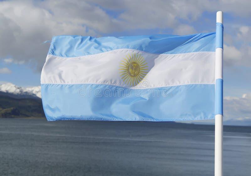 Flag of Argentina. In Ushuaia, Argentina stock photo