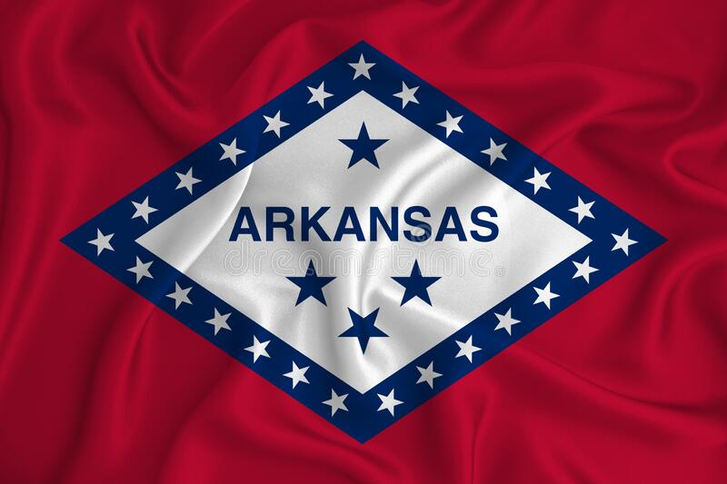 Flag of Arkansas in the United States on the background texture. Concept for designer solutions.  royalty free stock photography
