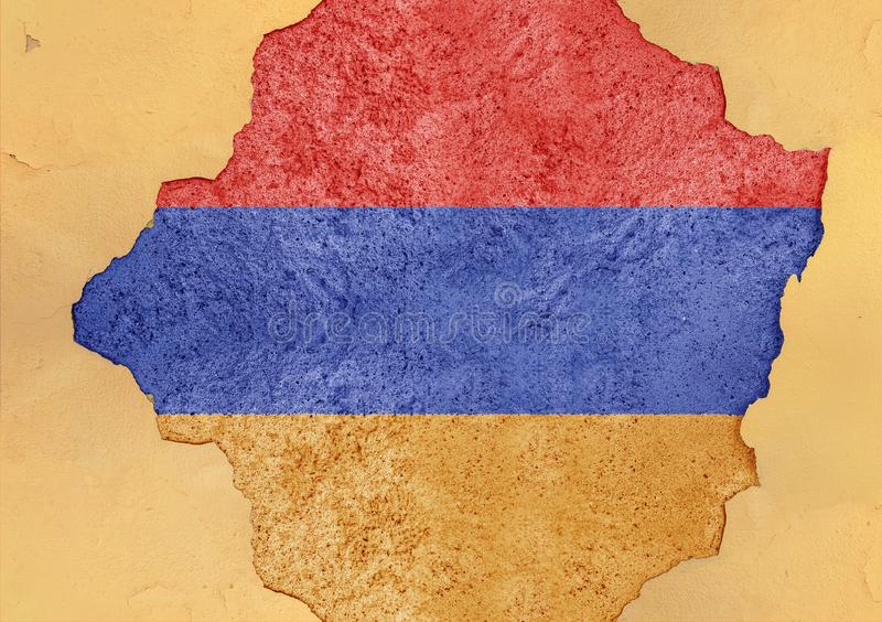 Flag of Armenia in big broken material concrete cracked hole facade. Structure stock images