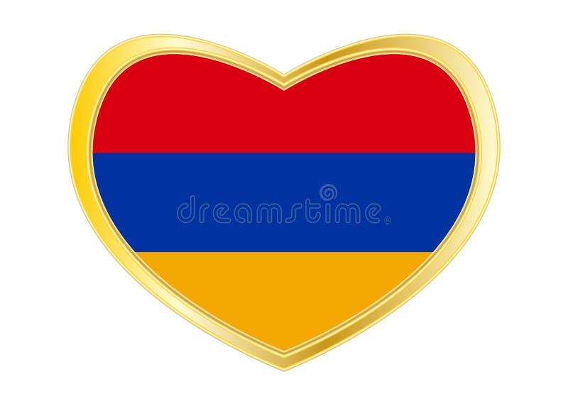 Flag of Armenia in heart shape, golden frame stock illustration