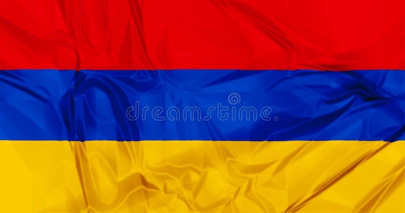 Flag of Armenia. The national Armenia waving flag in 3d background stock illustration