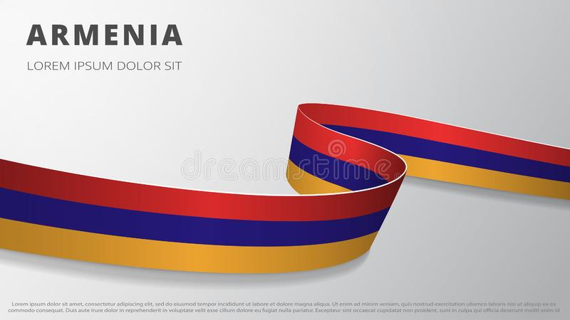 Flag of Armenia. Realistic wavy ribbon with Armenian flag colors. Graphic and web design template. National symbol stock illustration