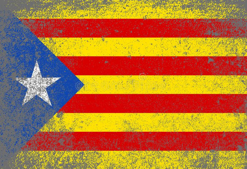 Grunge Catalan Flag. The flag as used by the Catalan portion of Spain with grunge vector illustration