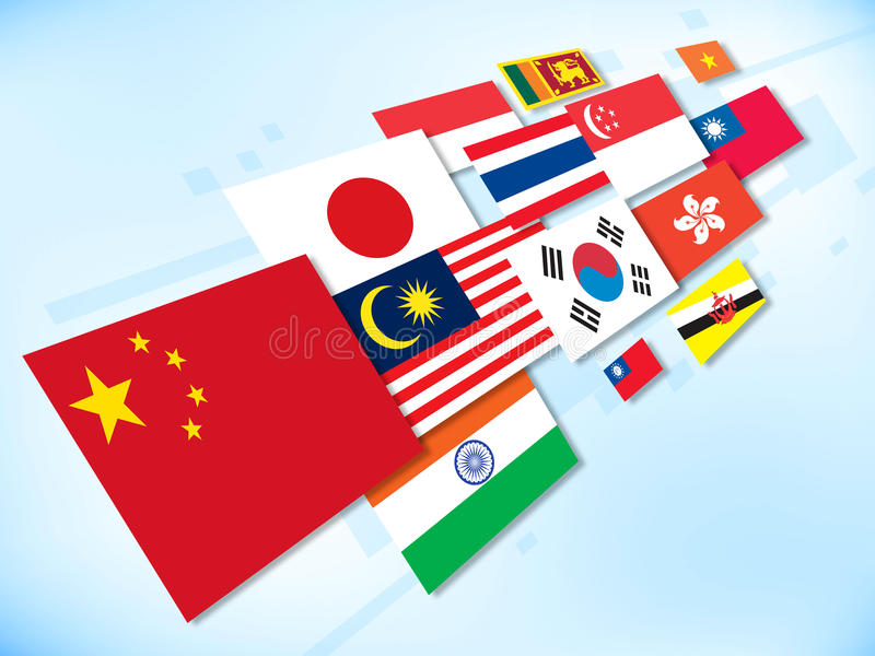 Flag-asia. A group of asia country flag vector illustration