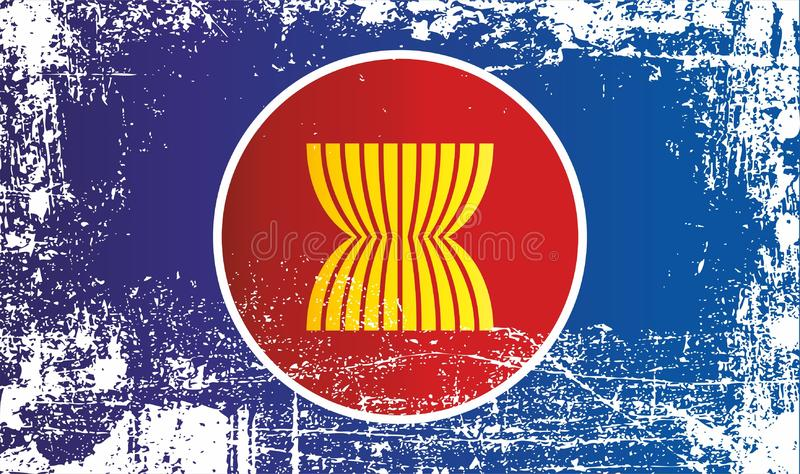 Flag of Association of Southeast Asian Nations. Wrinkled dirty spots. Can be used for design, stickers, souvenirs stock illustration